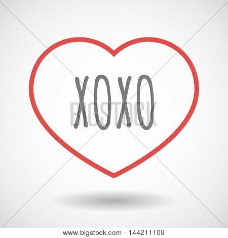 Isolated  Line Art Heart Icon With    The Text Xoxo