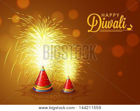 Elegant sparkle, Explosing Firecrackers on shiny brown background for Indian Festival of Lights, Happy Diwali Celebration.