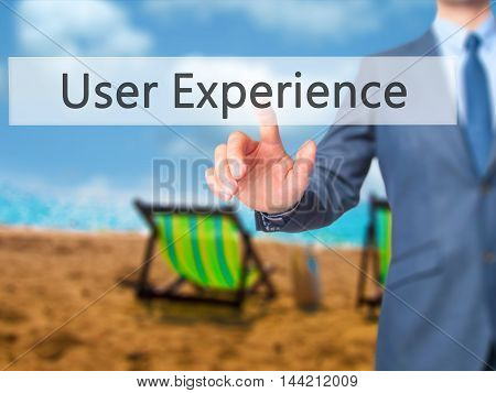 User Experience -  Businessman Click On Virtual Touchscreen.