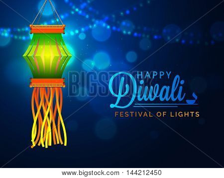 Glossy Diwali Lamp (Kandil) hanging on shiny blue night background for Indian Festival of Lights Celebration.