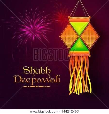Colourful Diwali Lamp (Kandil) hanging on shiny fireworks background, Vector greeting card design for Indian Festival of Lights Celebration.