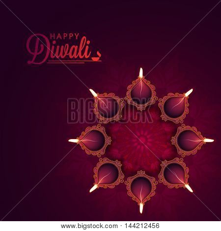Beautiful floral Rangoli with Illuminated Oil Earthen Lamps, Vector greeting card design for Indian Festival of Lights, Happy Diwali Celebration.