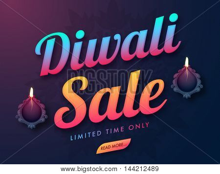 Diwali Sale for Limited Time, Big Discount Poster, Bumper Dhamaka Banner, Flyer or Background, Vector illustration with stylized Illuminated Oil Earthen Lamps.