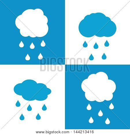 Flat cloud icons with drops on white and blue background. Rain weather with cloud, vector illustration