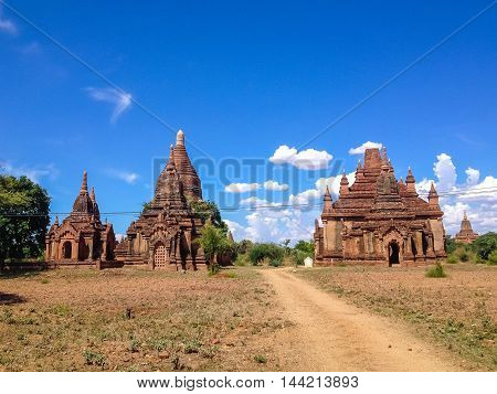 Acient Pagodas and temple in Bagan Myanmar