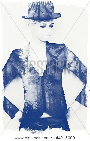 young woman with bowler hat double exposure with wood