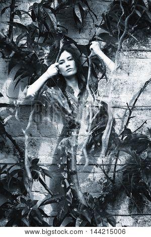 woman in garden double exposure