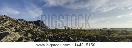 The panorama of the Northern Ural mountains