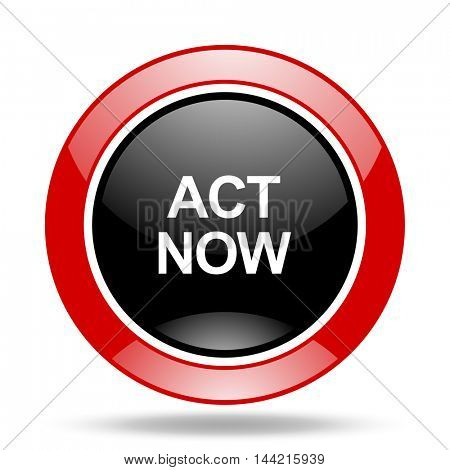 act now round glossy red and black web icon