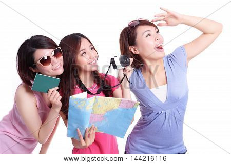 Happy group travel people hold camera passport and map. Isolated on white background asian