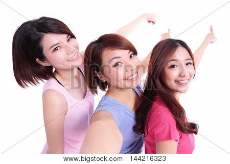 Happy teenagers woman taking pictures and show something by themselves isolated on white background asian