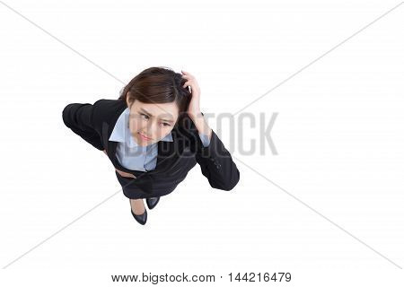 business woman look upset and think something with isolated on white background asian