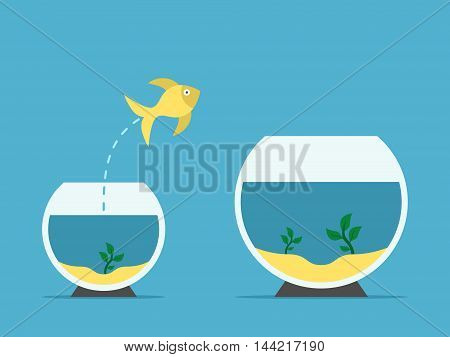 Gold fish jumping from little to large aquarium on blue background. Courage risk and opportunity concept. Flat design. Vector illustration. EPS 8 no transparency