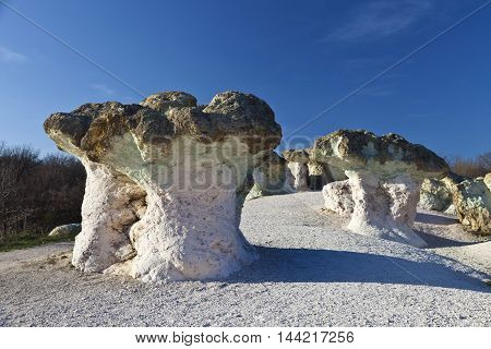 color in rock formations resembling stone mushrooms