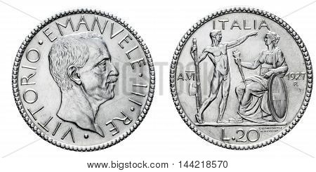 Twenty 20 Lire Silver Coin 1927 Littore fascism age, Vittorio Emanuele III Kingdom of Italy, Mint of rome