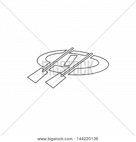 Rubber boat with oars icon in outline style isolated on white background