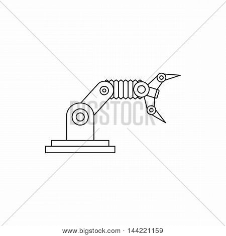 Robotic hand manipulator icon in outline style isolated on white background