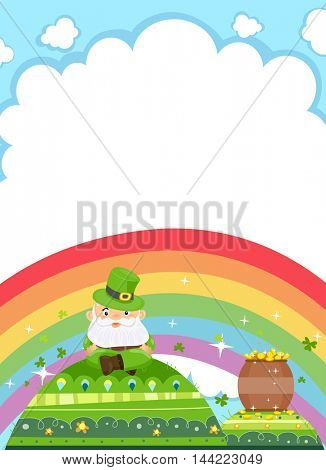 Background Illustration Featuring a Leprechaun Resting on a Green Mound