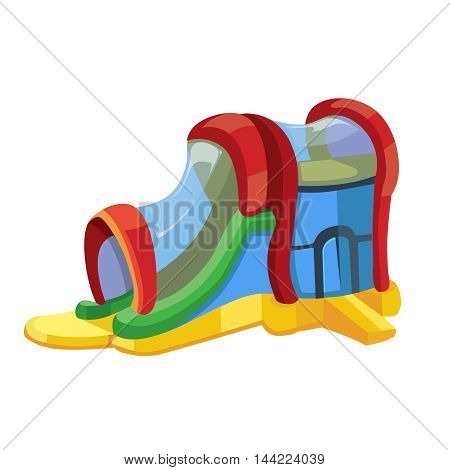 Vector illustration of inflatable slides with playground isolate on white background. Picture in modern flat style