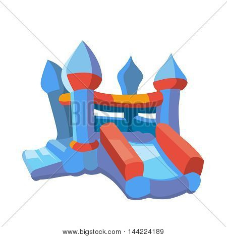 Vector illustration of bouncy castle on playground. inflatable games for childrens. Picture in modern flat style isolate on white background