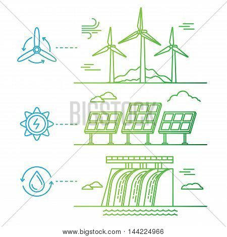 Vector Illustration In Simple Linear Flat Style - Alternative Energy