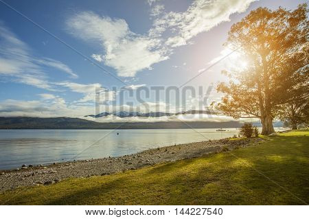 beautiful sceninc of lake te anau important traveling destination in south island new zealand