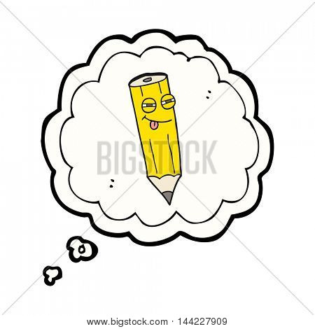 happy freehand drawn thought bubble cartoon sly pencil