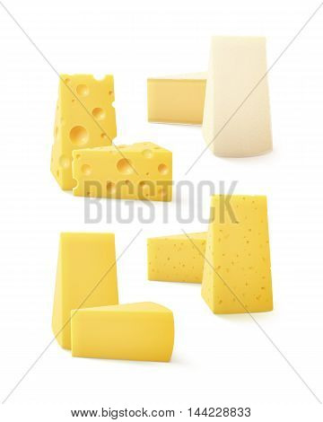 Vector Set of Triangular Pieces of Various Kind of Cheese Swiss Bri  Camembert Close up Isolated on White Background