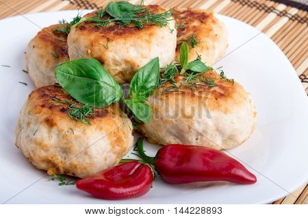 Closeup View On Fried Meatballs Of Minced Chicken
