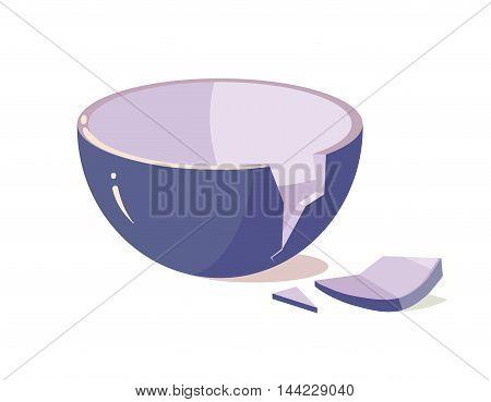 vector illustration of Broken Bowl isolate on White Background. Cartoon style