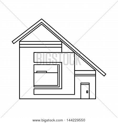 House with sloping roof icon in outline style isolated on white background. Building symbol