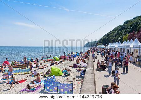 Crowded Beach In Gdynia, Baltic Sea, Poland