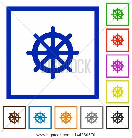 Set of color square framed steering wheel flat icons