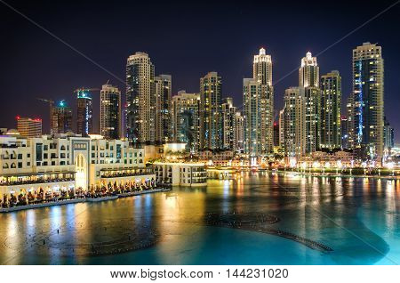 Amazing Tallest Skyscrapers In Sheikh Zayed Road And Downtown Area During Calm Night With Colorful N