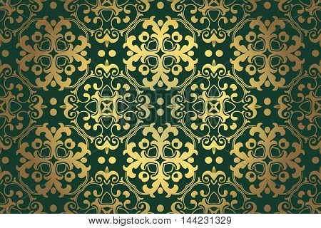 abstract vintage retro decor on green background of the elements of the pattern renaissance era of Baroque