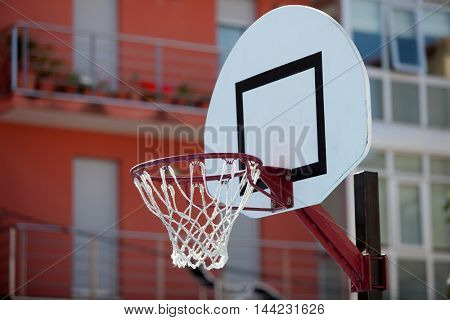 Basketball backboard in the middle of the city