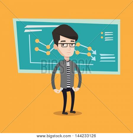 A confused businessman showing his empty pockets on the background of decreasing chart. Man turning his empty pockets inside out. Bankruptcy concept. Vector flat design illustration. Square layout.