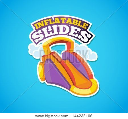 Vector illustration of color emblem inflatable slide on playground. Advertise label with place for your text. Picture isolate on blue background