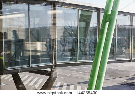 Airport finger with passengers. Tourism travel background. Horizontal
