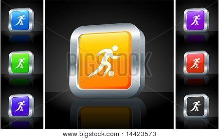 Soccer Icon on 3D Button with Metallic Rim Original Illustration