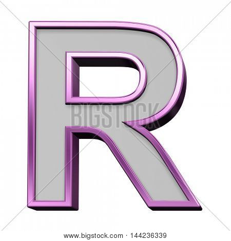 One letter from gray with purple frame alphabet set, isolated on white. 3D illustration.