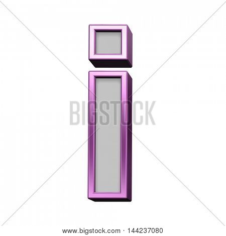 One lower case letter from gray with purple frame alphabet set, isolated on white. 3D illustration.