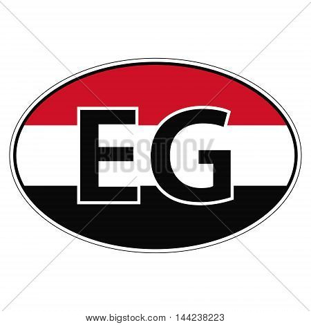 Sticker on car, flag Arab Republic Of Egypt with the inscription EG vector for print or website design for language buttons