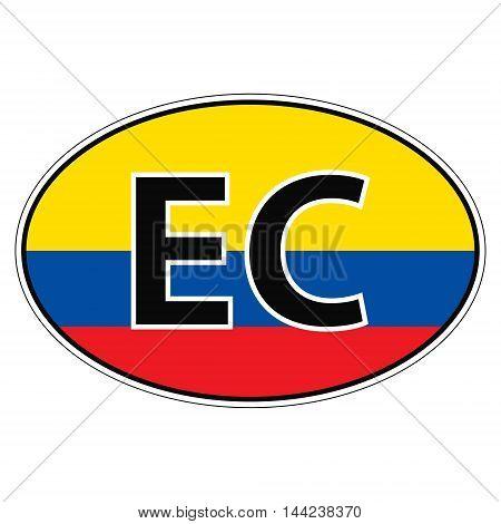 Sticker on car, flag Ecuador the inscription EC vector for print or website design for language buttons