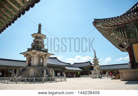 Gyeongju South Korea - August 18 2016: The stone pagoda Dabotap in Bulguksa temple South Korea.