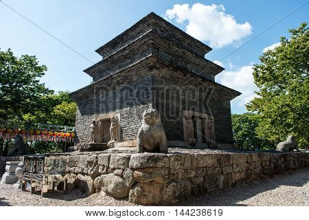 Gyeongju, South Korea - August 18, 2016: Stone Pagoda Of Bunhwangsa Temple Was Built In The Silla Er