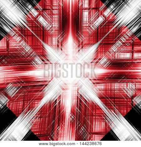 Abstract red and black light burst and grid background