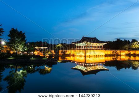 Gyeongju, South Korea - August 18, 2016 : Donggung Palace And Wolji Pond At Night, Gyeongju, South K