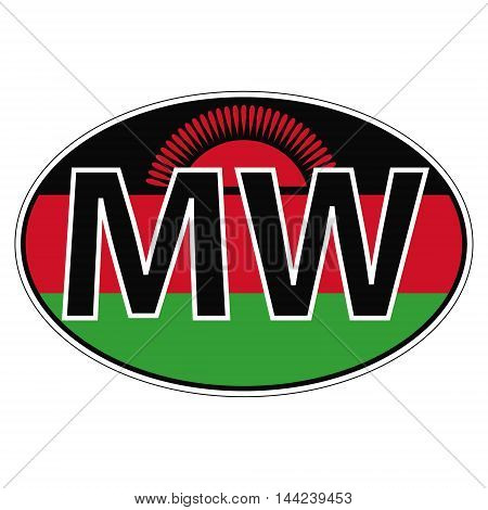 Sticker on car, flag Malawi the inscription MW vector for print or website design for language buttons