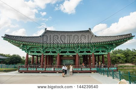 Gyeongju, South Korea - August 17, 2016: Donggung Palace And Wolji Pond In Gyeongju, South Korea.
